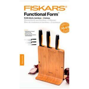 Набор кухонных ножей в бамбуковом блоке 3 шт. Fiskars Functional Form (1057553)